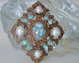 Sarah Coventry Faux Turquoise Cabochon Pearl Remembrance Brooch Pendant * Designer Signed * 1960s Vintage Jewelry