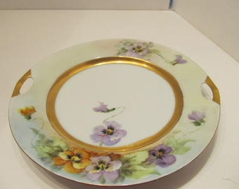 Hand Painted Pansy Cake Plate - Victoria China - Austria