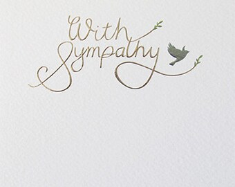 With Sympathy silver and blue foiled and embossed condolence greeting card, Elegant With Sympathy Thinking of You greeting card