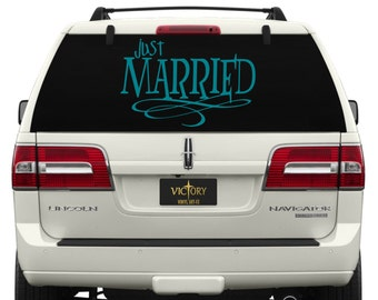 Just Married Car Window Decal ~ WE004