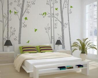 Leafy Trees Grey Wall Sticker