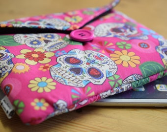 Pink Mexican Sugar Skulls Print Gadget Tablet Bag - Various Sizes For All Popular Models