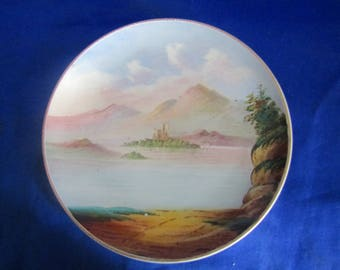 Vintage Nippon Plate with a Hand Painted scene of a Castle on an Island, Mountains and 2 Boats on a Lake, Decorative Wall-hanging