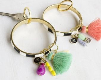 Personalized wristTassel Keychain, tassel wrist bangle, gift for her, bridesmaid gifts, personalized keychain, personalized gift