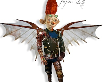 Mr.Lakonni - articulated Paper Doll - 11.6  inches - leonardo wings freak steampunk traveler art doll