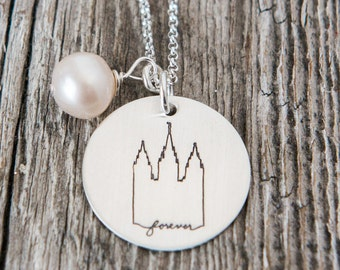 Salt Lake City Utah LDS Temple, Temple Forever Necklace, Temple Necklace, Temple, LDS Jewelry, Mormon Wedding, SLC Temple Necklace