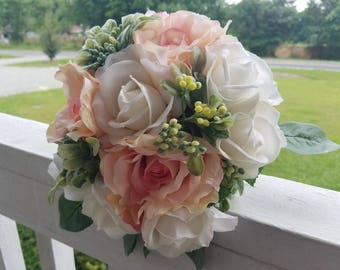 True Touch White Roses with Blush Pink Silk Roses Accented with Boxwood Greenery Bridal Bouquet