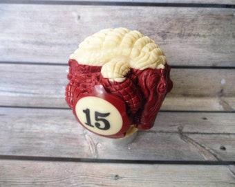 ALLIGATOR CROCODILE gear shift knob handle transmission from billiard ball number 15 hand carved