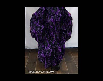 Ready to ship Steampunk Victorian SKIRT ONLY Taffeta Bustle Skirt Purple & Black DAMASK Costume for Cosplay Halloween