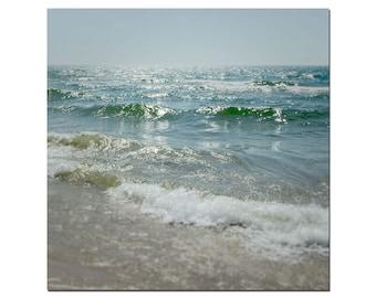 Lake Michigan, Beach Photography, Great Lakes, Large Seascape, Ocean Photograph, Aqua Blue Fine Art Prints, Sandy Tan Beach