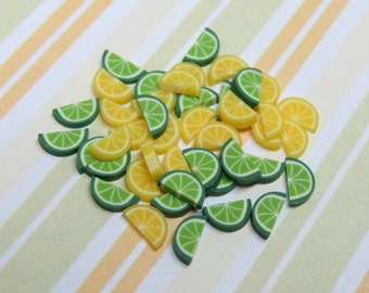 polymer clay cane lemon and lime wedges 40pcs for miniature drinks foods desserts decoden and nail art supplies