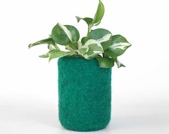 Felt Vase Felted Pencil Pot Emerald Green Home Decor Knitted Cylinder Housewarming Hostess Gift Unbreakable Soft Kids Nursery