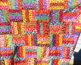 """Quilt top, unfinished,  crazy daisies print, red, green, blue, yellow, brown, rail fence pattern, 54"""" x 60"""" cotton, FREE US SHIPPING"""