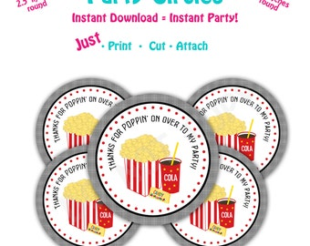 Movie Birthday Party  Favor Tags -- Instant Download -  Printable  Movie Party Favor Tags