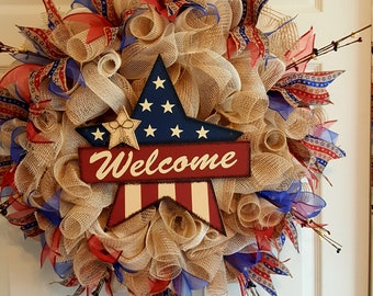 Patriotic Wreath. Summer Wreath, Great for All Occasions. Extra Large Wreath 29inch