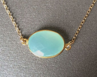 Aqua Chalcedony Gold Necklace, Aqua Faceted Vermeil Bezel, Gold Filled Chain, Bridesmaids Jewlery