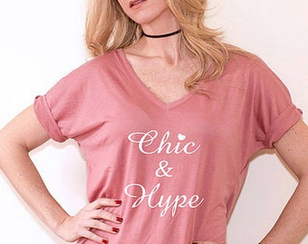 Chic & Hype - Women's Slouchy V-Neck Tee