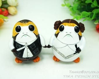 Star Wars Wedding Cake Topper, Porg Star Wars Cake Toppers, A Han Solo and Princess Leia porg Wedding Cake Toppers, Cake Toppers For Wedding