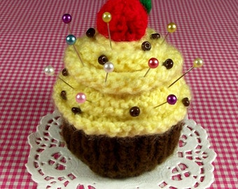 KNITTING PATTERN CUPCAKE Pincushion Amigurumi knit crochet dessert food Banana Nut Ornament Toy Amigurumi pdf Pattern Instant Download