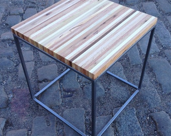 Reclaimed Pallet Wood and Steel End Table