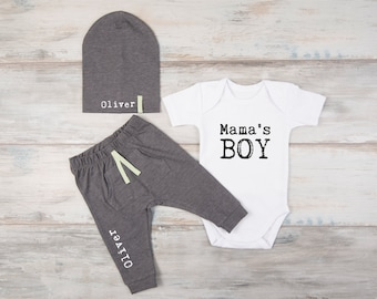New Mom Gift, Baby Boy Clothes, Mama's Boy White Bodysuit, Personalized Pants / Hat, Baby Gift, Mother's Day Boy Outfit, 1st Mother's Day