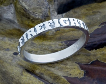 Firefighter Sterling Silver Stackable Stacking Band Ring