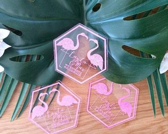 Wedding coasters. Pink Flamingo. Acrylic customised coasters. Set of 10