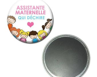 Magnet button 56 mm - childminder tearing children white craft gift