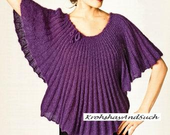 Trapeze Sweater, Plus Sizes, Knitting Pattern. PDF Instant Download.