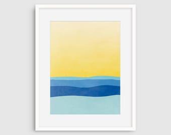 Plage Decor mural Art reproduction moderne d'Art abstrait, Art minimaliste, océan côtier, impression murale, Art, Art de la salle de bain, marine, bleu l'Art abstrait