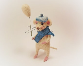 Cute mouse, Needle felt mouse, White mouse, Needle felt animal, Needle felt miniature, Birthday gift, Home decor
