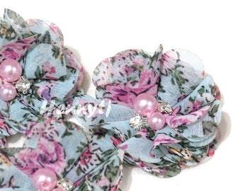 4 Stück, die Aubrey Vintage Aqua PINK Blumen Garten gemustert - weiches Chiffon w / rosa Perlen und Strasssteine Mesh Layered kleine Stoff-Blumen