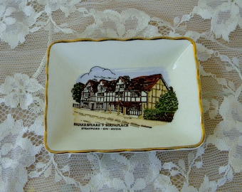 Shakespeare Birthplace Collectible Mini Plate, Stratford on Avon, Vintage Item, Ashley Glough Souvenirs, Made in England