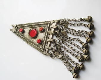 Vintage Bedouin Pendant Triangle Amulet from Yemen with Red Stones, Statement Necklace on Black Leather Cord, Yemeni Jewelry