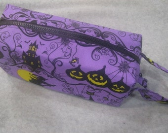 Purple Halloween Mansion with surprise embroidery inside - Cosmetic Bag Makeup Bag LARGE