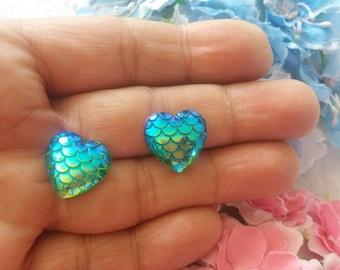 Inspired by Mermaids, Heart Scale Earrings