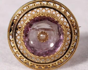 Antique Brooch 18k Yellow Gold Brooch Amethyst Brooch Natural Pearl Brooch Victorian French Jewelry