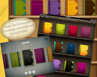 Instant download for iPad - Digital Printable Journal Covers for your bookshelves - Surprising Colorful Suedes