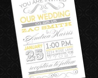 Fun Schriften - Poster Style Hochzeitseinladung (jede Farbe)