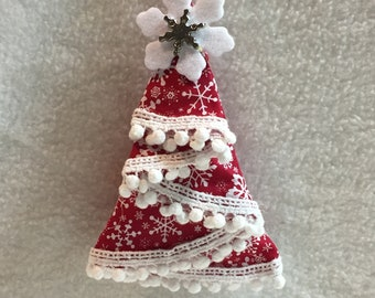 Fabric Tree Ornament - Red with White Snowflakes (#029)