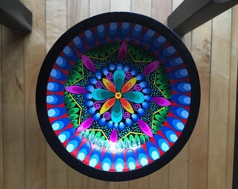 Wood Hand Painted Bowl made in Ecuador