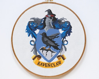 Ravenclaw Cross Stitch Pattern, Harry Potter Cross Stitch Pattern, Modern Cross Stitch, Hogwarts, Pdf Format, Instant Download