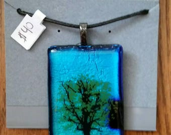 Dichroic Tree Fused Glass Pendant