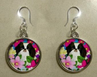 JAPANESE CHIN dog handcrafted silver plated charm EARRINGS