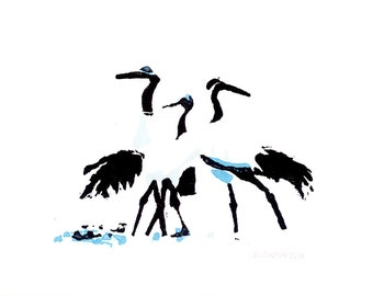 A6 cards - pack of 5 - Japanese cranes 2014