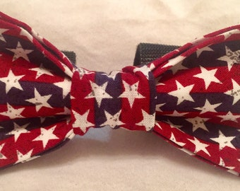 Red, white, and blue star bow tie
