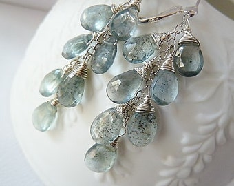 Moss Aquamarine silver earrings. Dangle earrings. March Birthstone earrings. Wire wrapped. Drop earrings. Aquamarine Silver leverback