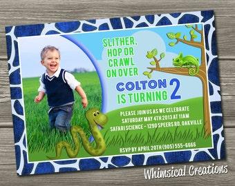 Reptile Themed Birthday Invitation (Digital File) - I Design, You Print