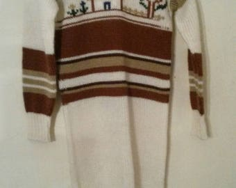 Knitted Jumper Sweater Dress Cute Ugly Weird Embroidered small