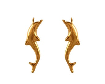 gold or silver dolphin earrings